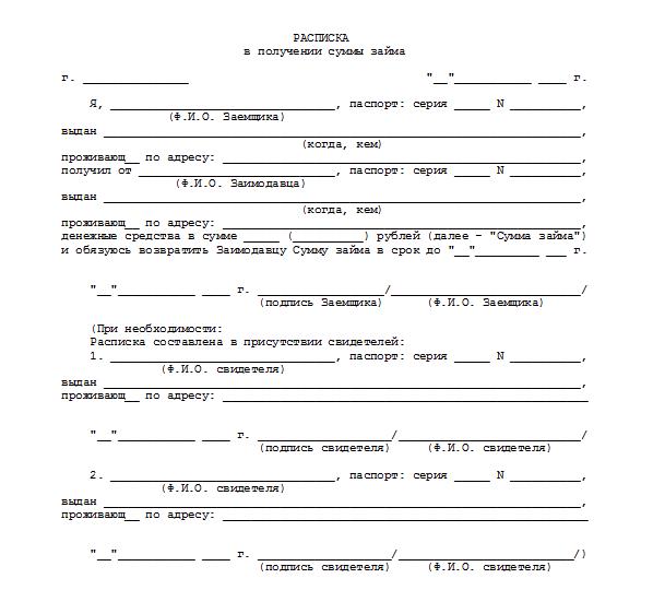 расписка о передаче залога образец