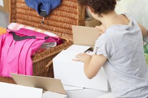 Cardboard box unpacking